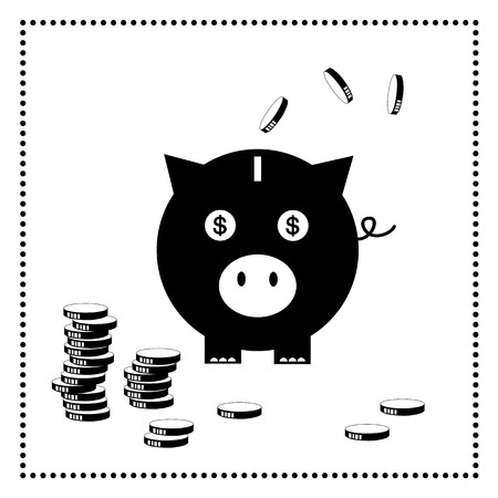 piggy bank on white background  Vector