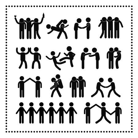 strichmännchen: Freundschaft-Symbol auf weißem Hintergrund Illustration