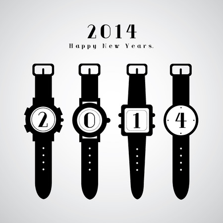 midnight hour: watch vector happy new year time