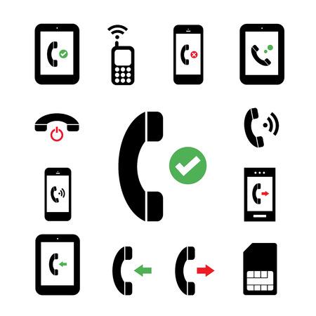 call us: phone symbol set on white background