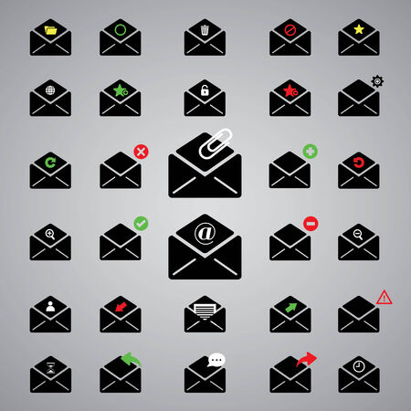 select all: black icon email for business  Illustration