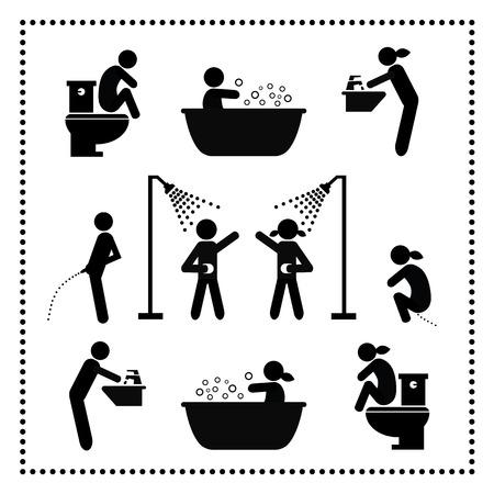 aseo personal: símbolo de higiene personal situado en el fondo blanco Vectores
