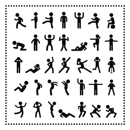 sit up:  action people symbol set on white background