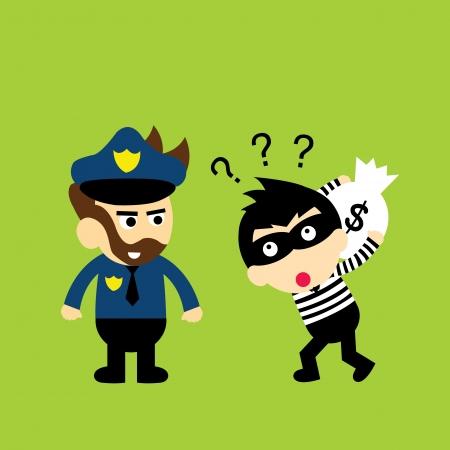 burglar man: thief and policeman vector cartoon