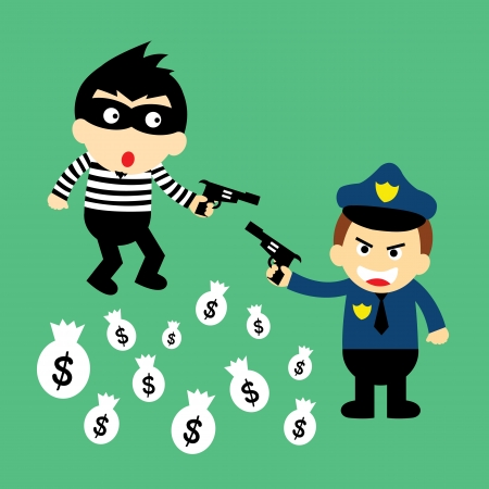 thief and policeman vector cartoon  Vector