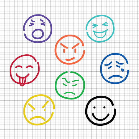 emotion sketch on notebook stripes  Vector
