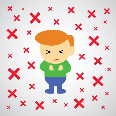 failed plan: wrong mark vector cartoon style for use  Illustration
