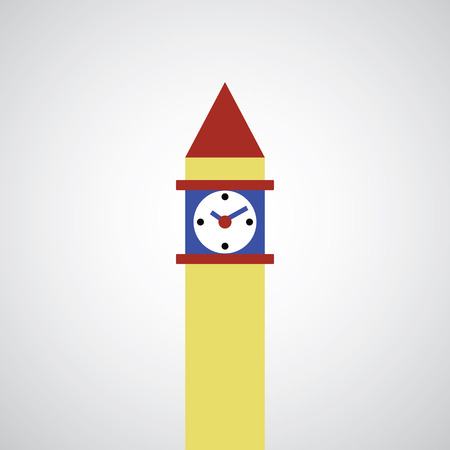 clock tower: clock tower symbol on gray background