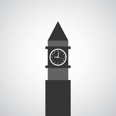 clock tower: clock tower symbol on gray background  Illustration