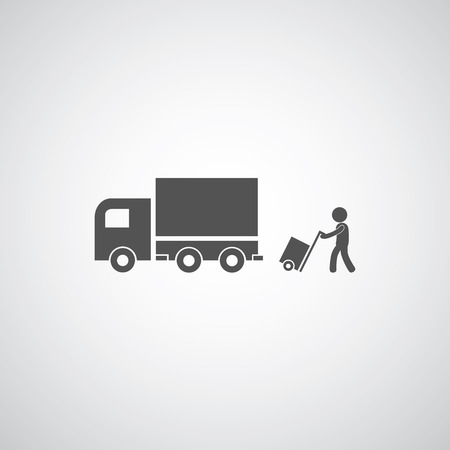 paper delivery person: courier services symbol on gray background