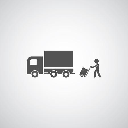 trasloco: servizi di corriere simbolo su sfondo grigio