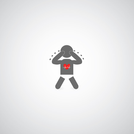 dreary: baby cry symbol on gray background Illustration
