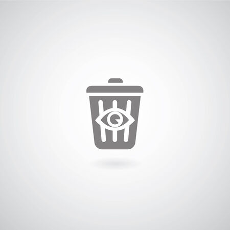 bin symbol on gray background  Vector
