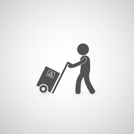 delivery man: delivery services symbol on gray background