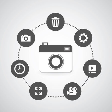 camera icons set in circle diagram  Stock Vector - 25075030
