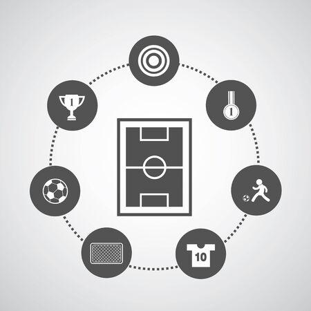 goal cage: football symbol set in circle diagram