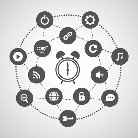 alarm clock and technology symbol set in circle diagram Stock Vector - 25074937