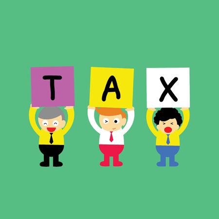 tax word with cartoon style