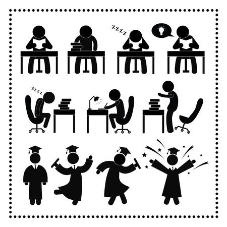 hogescholen: Succesvolle studie symbool op witte achtergrond