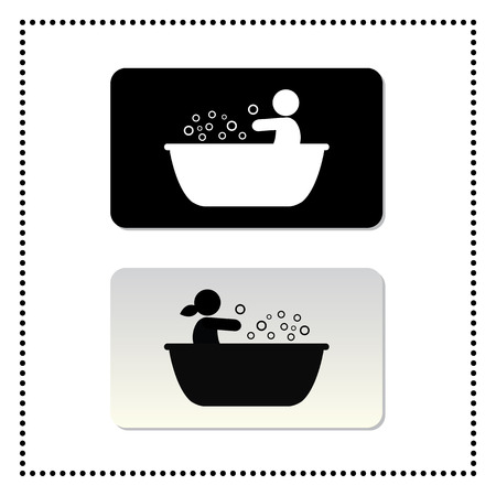 bathtub symbol tag on white background  Vector