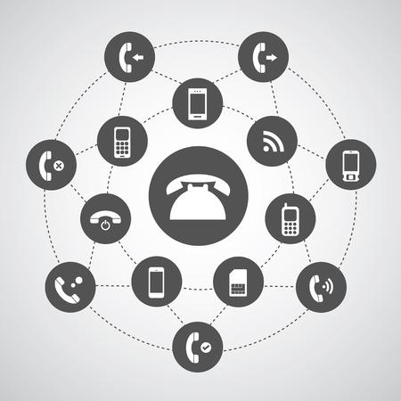 call us: phone symbol in circle diagram  Illustration