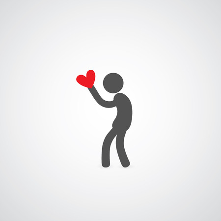 man holding heart symbol on gray   Vector