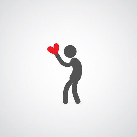 man holding heart symbol on gray   Vector