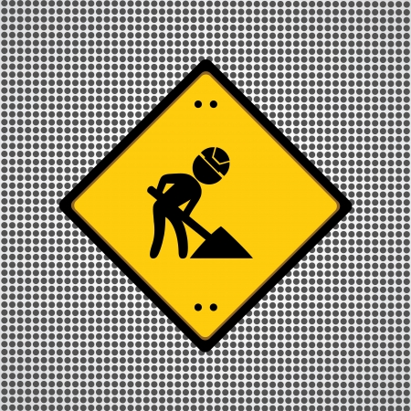 mending: yellow sign under construction