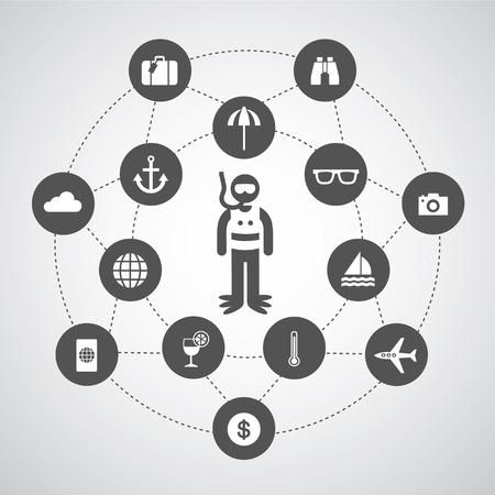 tourism symbol in circle diagram  Vector