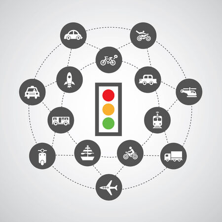 traffic lights and traffic symbol on gray    Vector