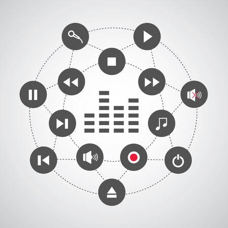 cd recorder: media button symbol  in circle diagram