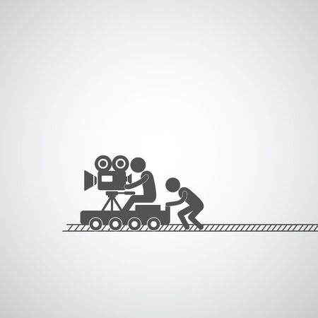 movie production symbol  on gray   Vector