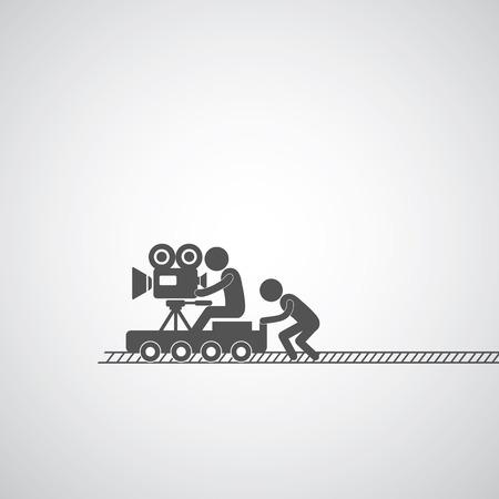 dolly: movie production symbol  on gray   Illustration