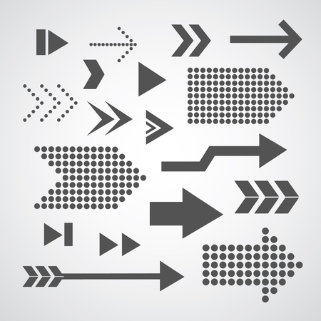 arrow set symbol on gray   Vector
