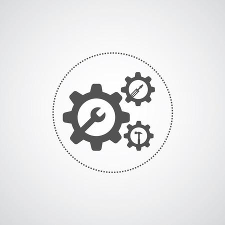 headlamp: mechanic symbol on gray