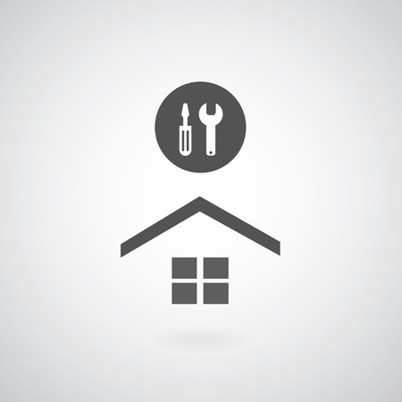 Home repair symbol on gray   Vector