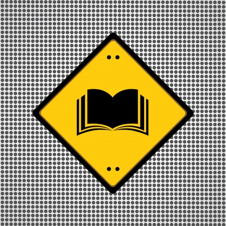 yellow book sign for library  Vector