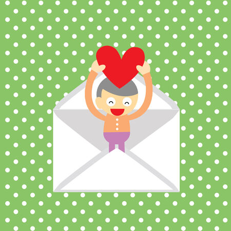 boy gives a  heart greeting card for valentine day  Vector