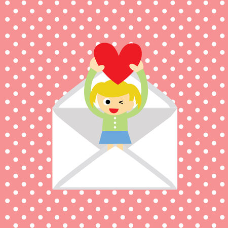 girl gives a  heart greeting card for valentine day  Vector