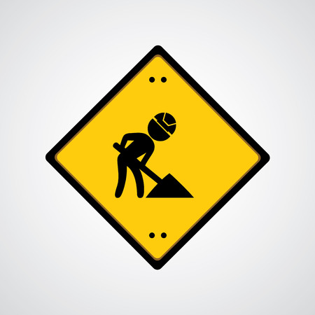 overhaul: sign under construction on gray