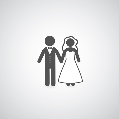 bride and groom symbol on gray  Vector
