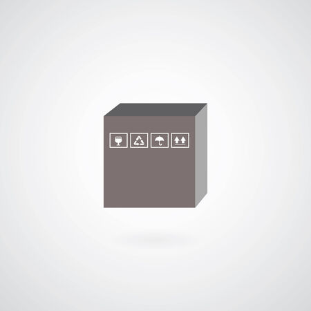 vector cardboard box symbol on gray  Vector