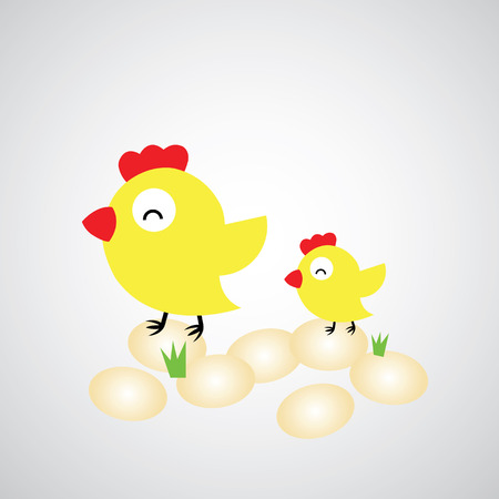 laying egg: Cartoon hen with eggs on gray