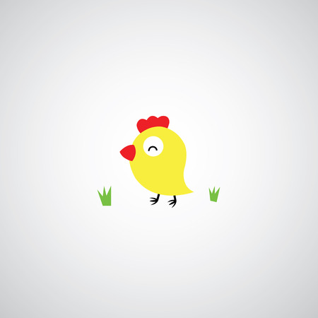 Cartoon hen with eggs on gray background Vector