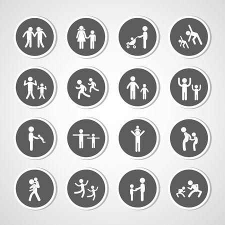 family idol symbol for set  Vector