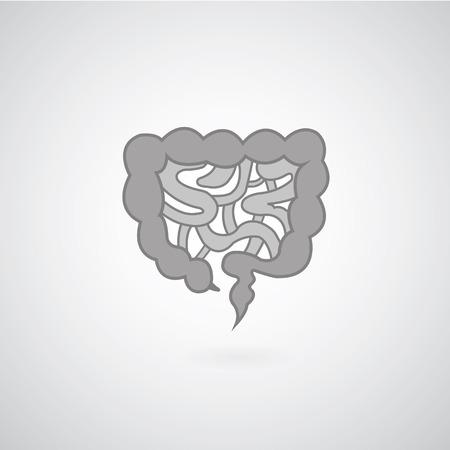 small bowel: Intestines symbol on gray background  Illustration