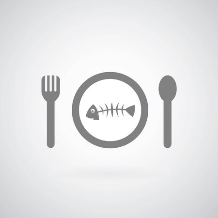 poor diet: Fish on plate on gray background  Illustration