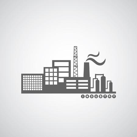industria quimica: icono de la fábrica industrial en el fondo se