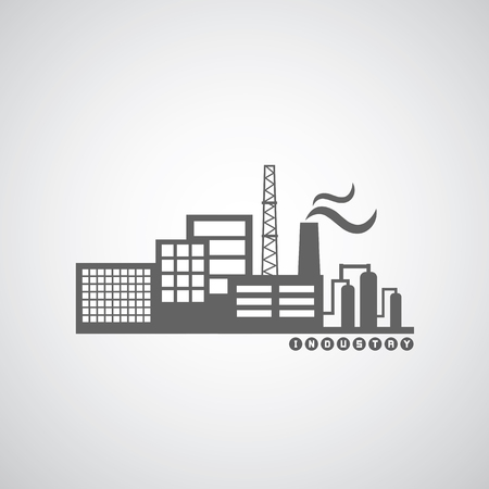 factory worker: industrial factory icon on gray background