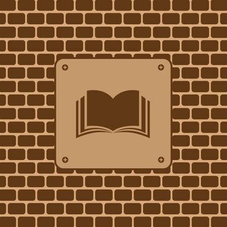 historias biblicas: s�mbolos de libros en la pared de ladrillo